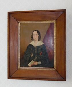 ANTIQUE OIL PAINTING ON WOOD PANEL PORTRAIT LADY READING NAIVE GEORGIAN cir 1830