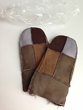 NEW Kids Brown Gray Unisex Real Leather Sheepskin Mittens Mitts Warm Winter
