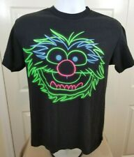 Muppets Animal T-Shirt Size Medium Black with Neon Print Drummer