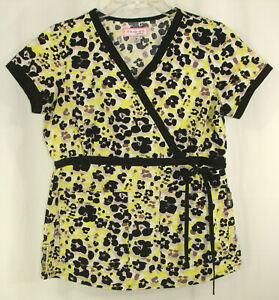 Koi by Kathy Peterson Scrub Top Sz S Yellow Black White Mock Crossover 115PR
