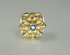 14K Yellow Gold Sapphire Ship Wheel Pendant Slider Textured Signed KGJ 1/2""
