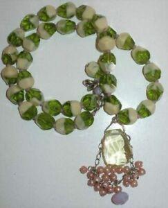 DAVID AUBREY Cream and Green Bi-color Swirl Beaded Pendant Necklace