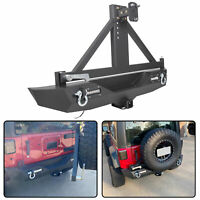 "Rear Bumper Guard w/ 2"" Hitch Receiver + Tire Carrier For 07-18 Jeep Wrangler JK"