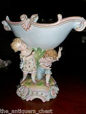 Antique large center piece Heubach? three children holding a bowl, large