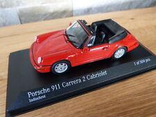 Original Porsche 911 964 Carrera 2 Cabriolet 1990 rot Minichamps Modellauto 1:43