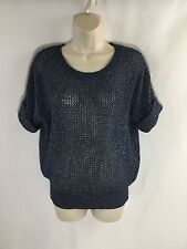CHICO'S Short Sleeve Round Neck blue silver Weave Acrylic Sweater Shirt Size 0