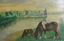 Landscape horses vintage oil painting