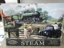 More details for the golden age of steam metal railway sign steam train 40 x 30 cm