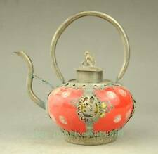 Antique Collectible Chinese Handmade Silver & Porcelain Inlaid Teapot Red b01