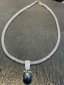 Tahiti Perlen Anhänger Kristall Collier Tahitizuchtperle ca 10 mm L Kette 53cm