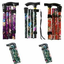Folding Walking Stick Adjustable Height Floral Design Compact/Aluminium/Easygrip