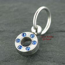 Piercing Ball Closure Ring Klemmring mit Kristallring BLAU Old School Ohrring