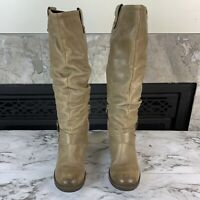 EMILIO LUCA X Womens 39 Gray Tan Knee High Leather Buckle Rider Italian Boots