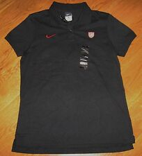 New NIKE Black US SOCCER TEAM Cotton POLO Shirt USA Women L NWT