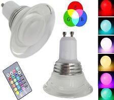 LAMPADINA LED RGB 3W GU10 MULTICOLORE FARETTO CROMOTERAPIA + TELECOMANDO 16 C