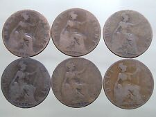 SIX ANTIQUE Edward VII Shove Halfpenny Coins - Free Postage (X01)