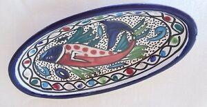 Schöne Schale Beilagenschale Tapas Keramik Fisch oval Fisch 24 x 12 cm blau bunt