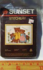 NIP VINTAGE 1983 SUNSET STITCHERY Cross Stitch KIT TEDDY BEARS GIVE THANKS