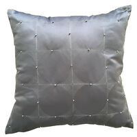 """New Silver Grey Circles Bead Luxury High Quality Cushion Cover/Filled 18""""x18"""""""
