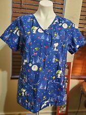 Peanuts Blue Snoopy Woodstock Winter Snowman Women's Scrub Top Size M