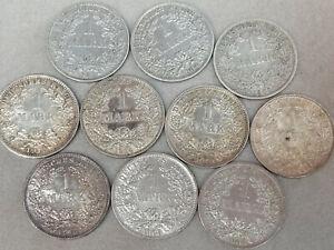 Konvolut Kaiserreich 1 Mark  Silber Münzen Deutsches Reich 10 x Grosser Adler