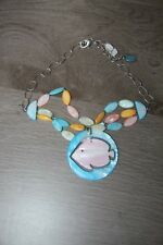 Collier NATURE Moal Boal Poissons  - Perles multicouleurs  avec pendentif neuf