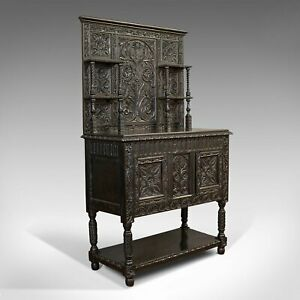 Antique Charles II Revival Dresser, English, Oak, Sideboard, Victorian C.1880