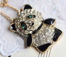 Look Vintage Oso Panda Sweater Colgante / Collar Largo & Gold Tone Cadena Nuevo