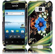 For LG Optimus Elite LS696 HARD Protector Case Snap On Phone Cover Aqua Flower