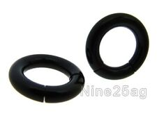 "PAIR OF 10G 5/16"" (8MM) BLACK SEGMENT RINGS CBR SMOOTH NIPPLE LIP RING EARRINGS"