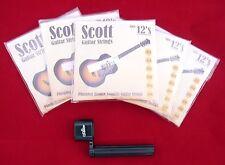 5 boîtes ensembles Scott guitare acoustique cordes 12 ans 0,012 job lot + libre Peg enrouleur
