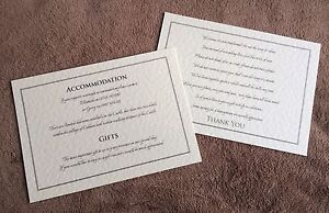 Personalised A6 insert cards- wedding info, gift poems, menus. Claire.