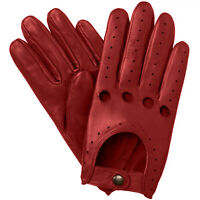 NEW MEN'S CHAUFFEUR REAL LAMBSKIN SHEEP NAPPA LEATHER DRIVING GLOVES - RED-