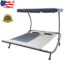 Outdoor Dual Chaise Lounge Chair Hammock Swing Bed Bench w/Shade Canopy Portable