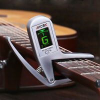 AROMA Clip-on Lcd Bass Guitar Capo Tuner Alloy Chromatic Clip Quick Change Silve