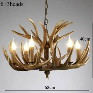 6 Light 3 Horn Deer Antler Retro Resin Candle Chandelier Lamp