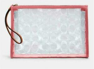 NWT $178 COACH BEACH CLUTCH SIGNATURE CLEAR CANVAS & LEATHER-SOLD OUT IN STORES