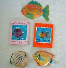 5 FISH MAGNETS Fridge Aquarium TROPICAL Haven TIN RESIN CHIPBOARD Mexico Taiwan