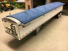 1/64 DCP WHITE WILSON TANDEM AXLE GRAIN TRAILER W/ BLUE TARP