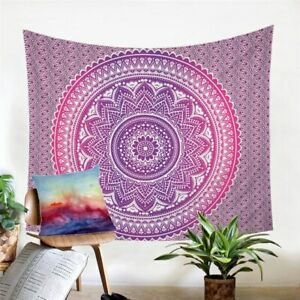 Pink Boho Mandala Floral Wall Tapestry Hanging Throw Cover Home Room Decoration