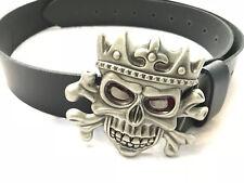 Cintura cinta in pelle emblema skull teschio custom bobber harley davidson