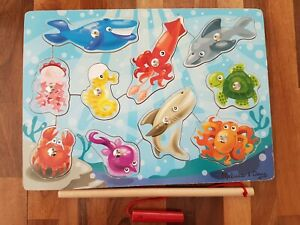 Melissa  Doug Magnetic Wooden Fishing Game And Puzzle With Wooden Ocean Animal