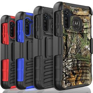 For Motorola Moto G Fast Phone Case, Belt ClipKickstand+Tempered Glass Protector