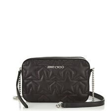 AUTHENTIC JIMMY CHOO HAYA BLACK LEATHER STAR PRINT BAG NEW £575