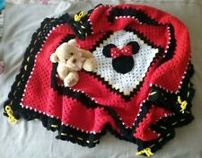 Hand made by me crocheted baby blanket rug throw 3D Minnie Mouse fun