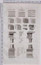 Arquitectura de impresión de 1788 antiguo griego Corbell capital dórico orden mampostería Toscano