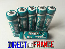 6 PILES ACCUS RECHARGEABLE NI-MH 2000mAh 1.2V AA LR06 LR6 R6 R06 MIGNON HYPER