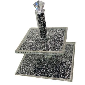 Black And Silver Crushed Diamond Crystal Filled Cake Stand Home decoration