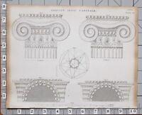 1824 Aufdruck Architektur Griechisch Ionic Hauptstädte Verschiedene Beispiele