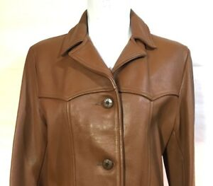 60s Vintage Deer Wear Womens Size L Leather Jacket  Brown Made USA